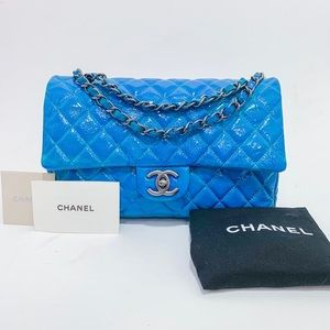 Chanel Turquoise Double Flap Crinkled Patent Bag